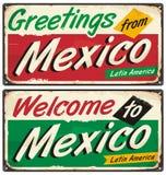 Tecken för Mexico tappningmetall vektor illustrationer