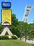 Tecken för Montreal olympic 40th årsdagexpo Arkivfoto