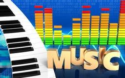 tecken för musik för tangentbord för piano 3d Royaltyfri Bild