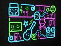 Tecken för musikpartineon Ljus skylt, illustration för neonljus 3D Arkivfoton