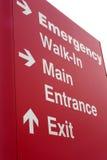 tecken för nödlägeingångssjukhus Royaltyfri Bild