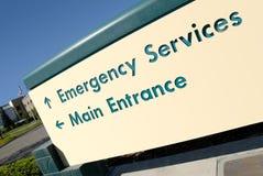 tecken för nödlägeingångssjukhus Arkivbild