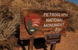 Tecken för nationell monument för Petroglyph Fotografering för Bildbyråer