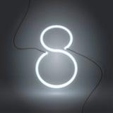 Tecken för neon åtta white-01 royaltyfri illustrationer