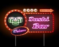 Tecken för neon för sushistång Arkivbild