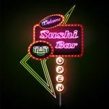 Tecken för neon för sushistång Royaltyfria Foton