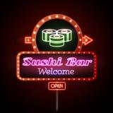 Tecken för neon för sushistång Royaltyfri Foto