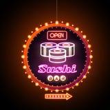 Tecken för neon för sushistång Arkivfoto