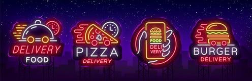 Tecken för neon för matleveransuppsättning Logotypsamlingsneon, ljust baner, ljus nattadvertizing för leveransmat för Royaltyfri Bild