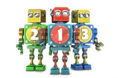 Tecken för 123 nummer för Ð-¡ olorful på retro robotar isolerat Innehåller cl royaltyfri illustrationer