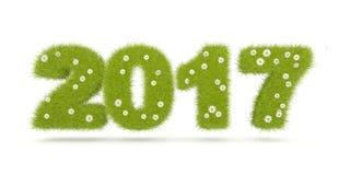 Tecken för nytt år för gräsplan som 2017 isoleras på vit royaltyfri illustrationer