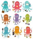 Tecken för octopi för tecknad film för illustration för bläckfiskockupationvektor av den affärsmankonstruktörn eller hemmafrun so vektor illustrationer