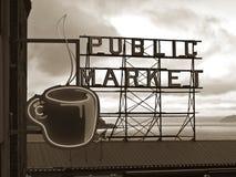Tecken för offentlig marknad - Seattle, Washington royaltyfria bilder