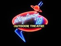 Tecken för Outood teaterneon Royaltyfria Bilder