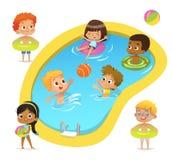 Tecken för pölparti Blandras- pojkar och flickor som bär baddräkter och cirklar, har gyckel i pöl Afrikansk amerikan royaltyfri illustrationer