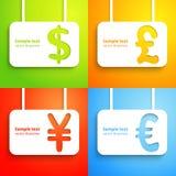 Tecken för pappers- valuta - dollar, euro, yen och Arkivbilder