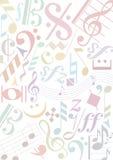 tecken för pastell för bakgrundsmusik Arkivbild