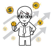 Tecken för pengar för affärsman arkivfoto