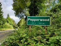 Tecken för Pepperwood, CA Royaltyfri Fotografi
