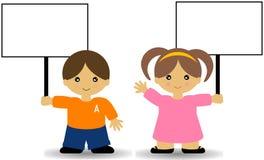 tecken för pojkeflickaholding Arkivfoton
