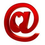 tecken för post för e-hjärtasymbol Stock Illustrationer