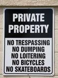 tecken för privat egenskap Arkivbilder
