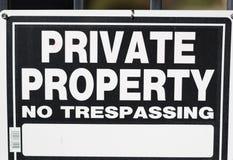 Tecken för privat egenskap Fotografering för Bildbyråer