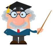 Tecken för professor Or Scientist Cartoon med det doktorand- locket som rymmer en pekare vektor illustrationer