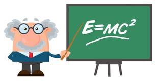 Tecken för professor Or Scientist Cartoon med pekaren som framlägger den Einstein formeln royaltyfri illustrationer