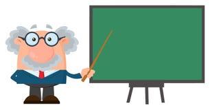 Tecken för professor Or Scientist Cartoon med pekaren som framlägger på ett bräde royaltyfri illustrationer