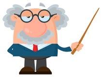 Tecken för professor som Or Scientist Cartoon rymmer en pekare stock illustrationer