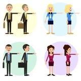 Tecken för rolig affär av män och kvinnor stock illustrationer