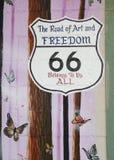 tecken för 66 route Royaltyfria Bilder