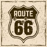 Tecken för Route 66 vägtappning med kulhål Stock Illustrationer