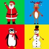 Tecken för ` s för nytt år, Santa Claus hjortsnögubbe och pingvin royaltyfri illustrationer