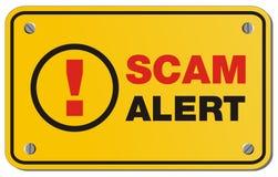 Tecken för Scam varningsguling - rektangeltecken Arkivfoton