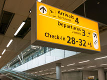 Tecken för Schiphol Amsterdam flygplatsterminal, Holland Royaltyfria Foton