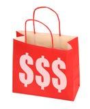 tecken för shopping för påsedollar rött Arkivfoton
