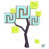 tecken för sikel 3d på ett träd Royaltyfri Bild