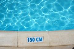 Tecken för simbassängdjupsäkerhet Fotografering för Bildbyråer