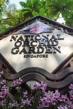 Tecken för Singapore nationellt orkidéträdgård Fotografering för Bildbyråer