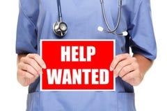 tecken för sjuksköterska för doktorshjälp önskat medicinskt Royaltyfria Foton