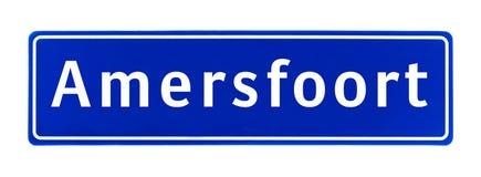 Tecken för stadsgräns av Amersfoort, Nederländerna arkivfoton