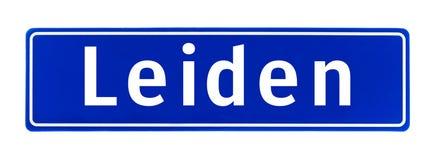 Tecken för stadsgräns av Leiden, Nederländerna Arkivbild