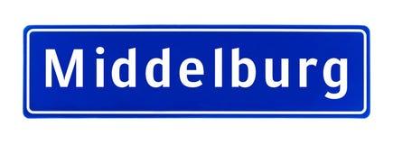 Tecken för stadsgräns av Middelburg, Nederländerna royaltyfria bilder