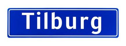 Tecken för stadsgräns av Tilburg, Nederländerna Arkivbilder