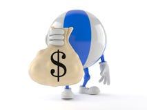 Tecken för strandboll med pengarpåsen stock illustrationer