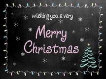Tecken för svart tavla för svart tavla för glad jul Royaltyfria Bilder