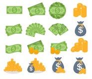 Tecken för symbol för sedlar för US dollarbuntpapper och för guld- mynt Royaltyfria Foton