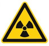 Tecken för symbol för utstrålningsfara av symbolen för radhazhotvarning, isolerad makro för etikett för signage för svartgulingtr Royaltyfri Bild